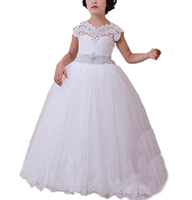 Vougemarket® Girls Party Dresses Lace Tulle Ball Gown Kids Prom Dress Christmas Pageant Dresses Age13