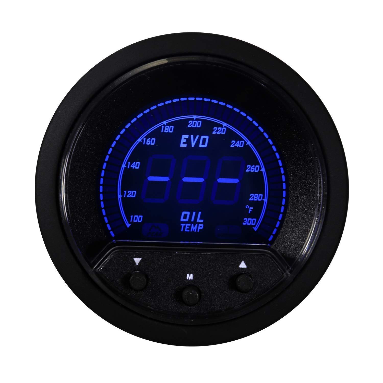 MOTOR METER RACING EVO Series Oil Temperature Gauge F Blue Red White Green Backlit Warning Function Peack Recall Included Waterproof Sensor Kits by MOTOR METER RACING