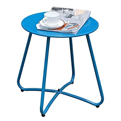 COBANA Patio Metal End Table, 16 inch Round Outdoor Side Table, Blue: Kitchen & Dining