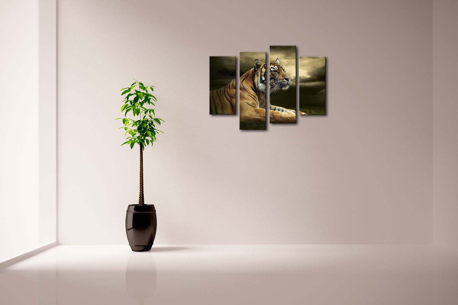 4 Panel Wall Art Tiger Looking And Sitting Under Dramatic Sky With Clouds Painting Pictures Print On Canvas Animal The Picture For Home Modern Decoration piece Stretched By Wooden Frame,Ready To Hang by Firstwallart