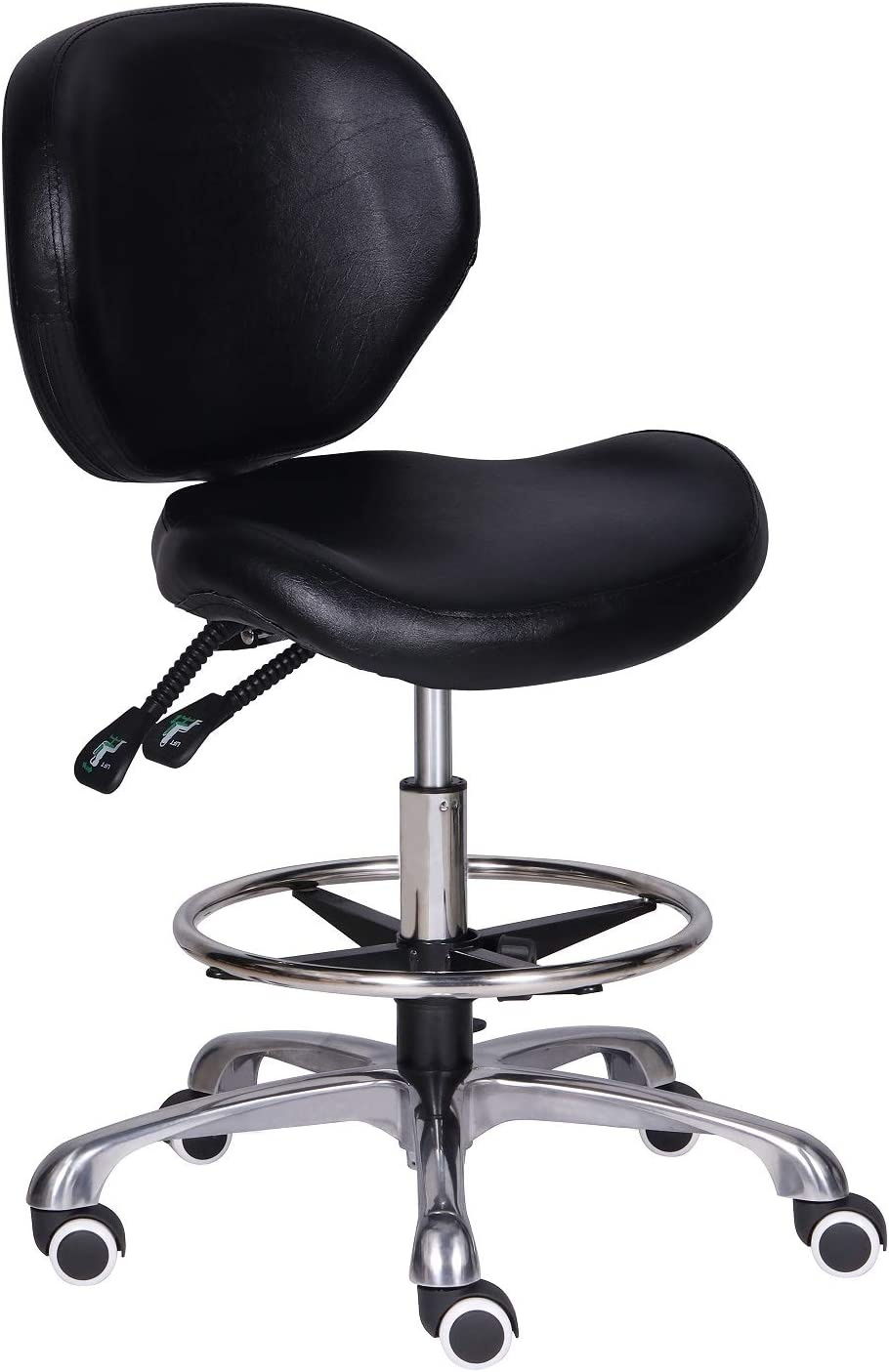 Kaleurrier Adjustable Stools Drafting Chair with Backrest & Foot Rest,Tilt Back,Peneumatic Lifting Height,Swivel Seat,Rolling wheels,for Studio,Dental,Office,Salon and Counter,Home Desk Chairs (Black)