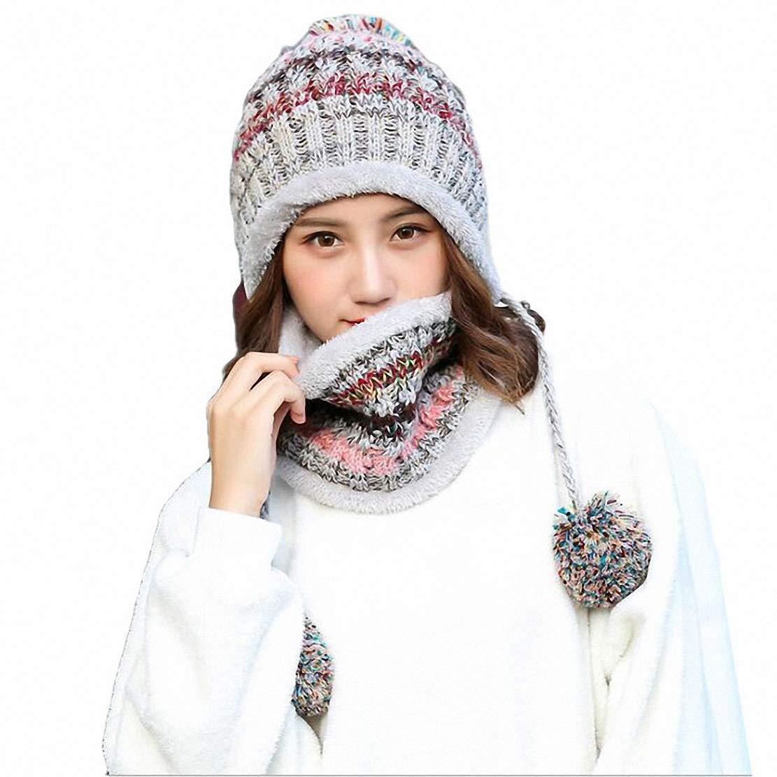 Aisaving Sombrero y Bufanda Mujer Invierno Conjunto de Bufanda de Punto Girls Beanie Hat Caliente Gorras con Scarf de Lana de Punto de Esquiar para Chicas