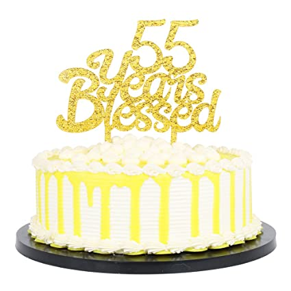 PALASASA Gold Glitter Acrylic 55 Years Blessed Cake Topper