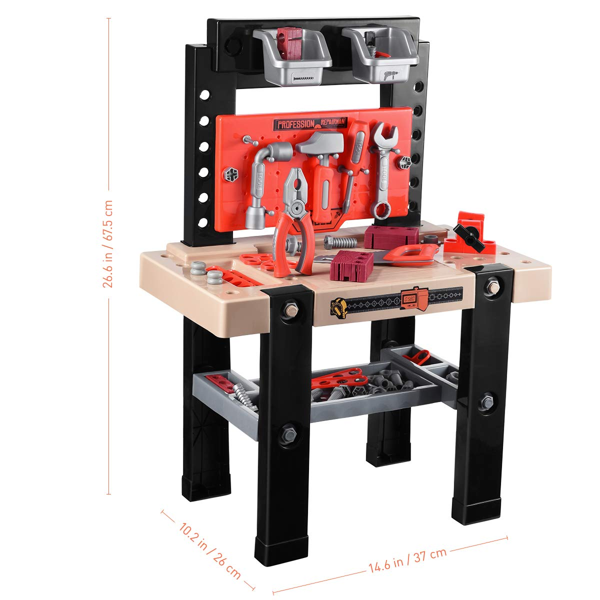 iBaseToy Toy Tool Bench, Kids Power Workbench, 91Piece Construction Toy Bench Set with Electric Drill, Educational Play & Pretend Play Workbench for Toddlers by iBaseToy (Image #6)