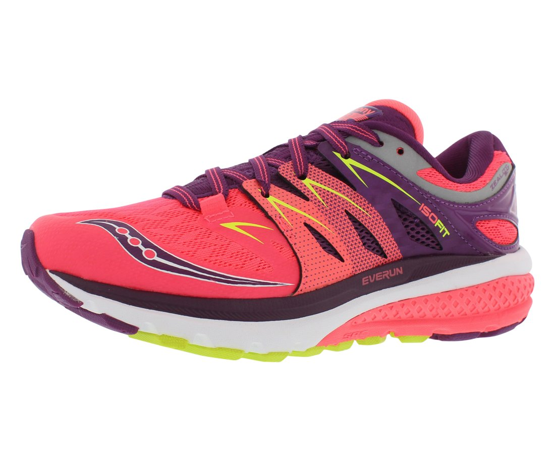Saucony Women's Zealot Iso 2 Running Shoe, Coral/Purple/Cotton, 9 M US