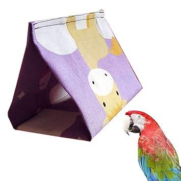 1pc Bird Hamaca Nido de pájaro Triángulo Caliente Canvas Creativo Diseño Colgante Jaula Bodega Carpa (30 * 19 * 21cm / 11.8 * 7.5 * 8.3 Pulgadas): ...