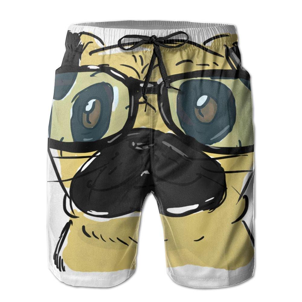 Kurabam Mens Beach Shorts, Pug Glasses Beach Lounge Shorts for Men Boys, Outdoor Short Pants Beach Accessories