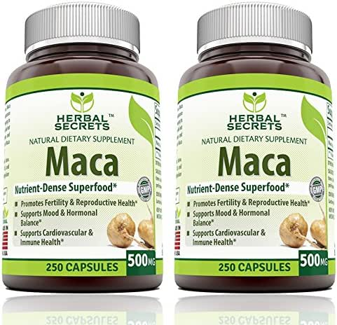 Herbal Secrets Maca 500 Mg 250 Caps - Supports Reproductive Health - Energizing Herb, (Pack of 2)