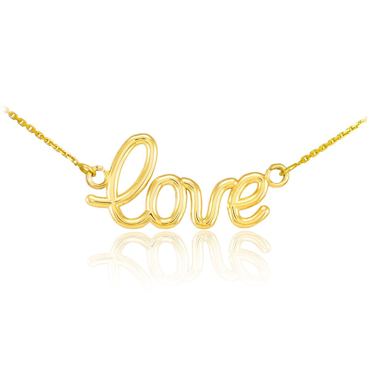 High Polish 14k Yellow Gold Love Script Necklace, 16''