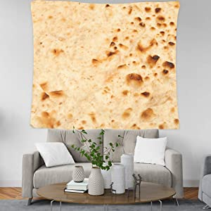 Burrito Tortilla Tapestry Mexican Ethnic Food Decor Wall Hanging Tapestries Funny Realistic Food Novelty Tacos Pattern On White Plain Corn Tortilla Texture Wall Carpet Beach Towel (59x51 Inch, Y69)