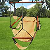 Cheap Giantex Outdoor Indoor Hammock Hanging Chair Air Deluxe Sky Swing Chair Solid Wood 250lb (Tan)