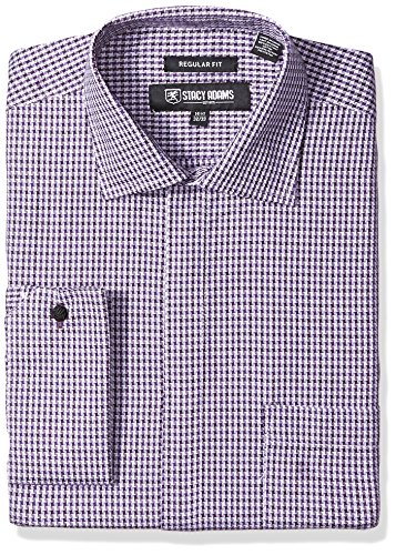 Stacy Adams Men's Textured Houndstooth Classic Fit Dress Shirt, Lavender, 16