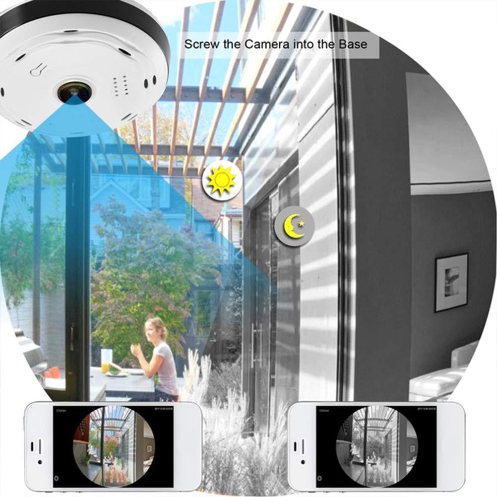 Macabolo 360 Grados Panorama Gran Angular Mini C/ámara Smart IP C/ámara Wireless Fisheye Lens Security Home WiFi IP C/ámara Blanco Blanco 1080P