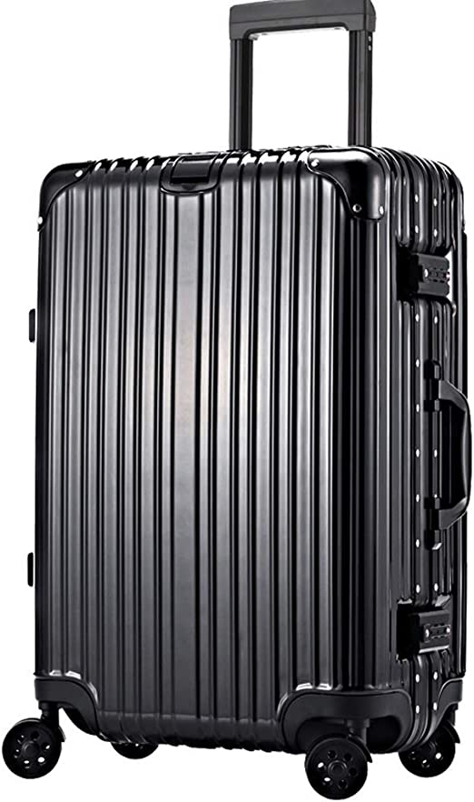 Large Capacity Anti-Collision Suitcase Retractable HUANGA Luggage Trolley Case 24 Inch Aluminum Frame Password Leather Case Color : Champagne, Size : 26 inches