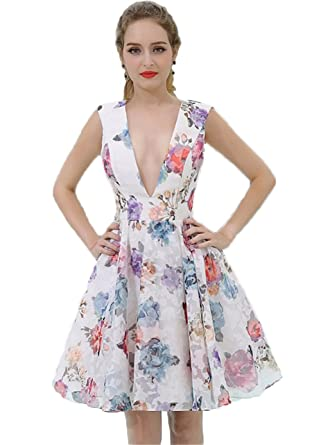 644401cadd4 Asoiree Floral Print Deep V-Neck Sleeveless Homecoming Dresses Short Prom  Dresses Dancing Skirt White at Amazon Women s Clothing store