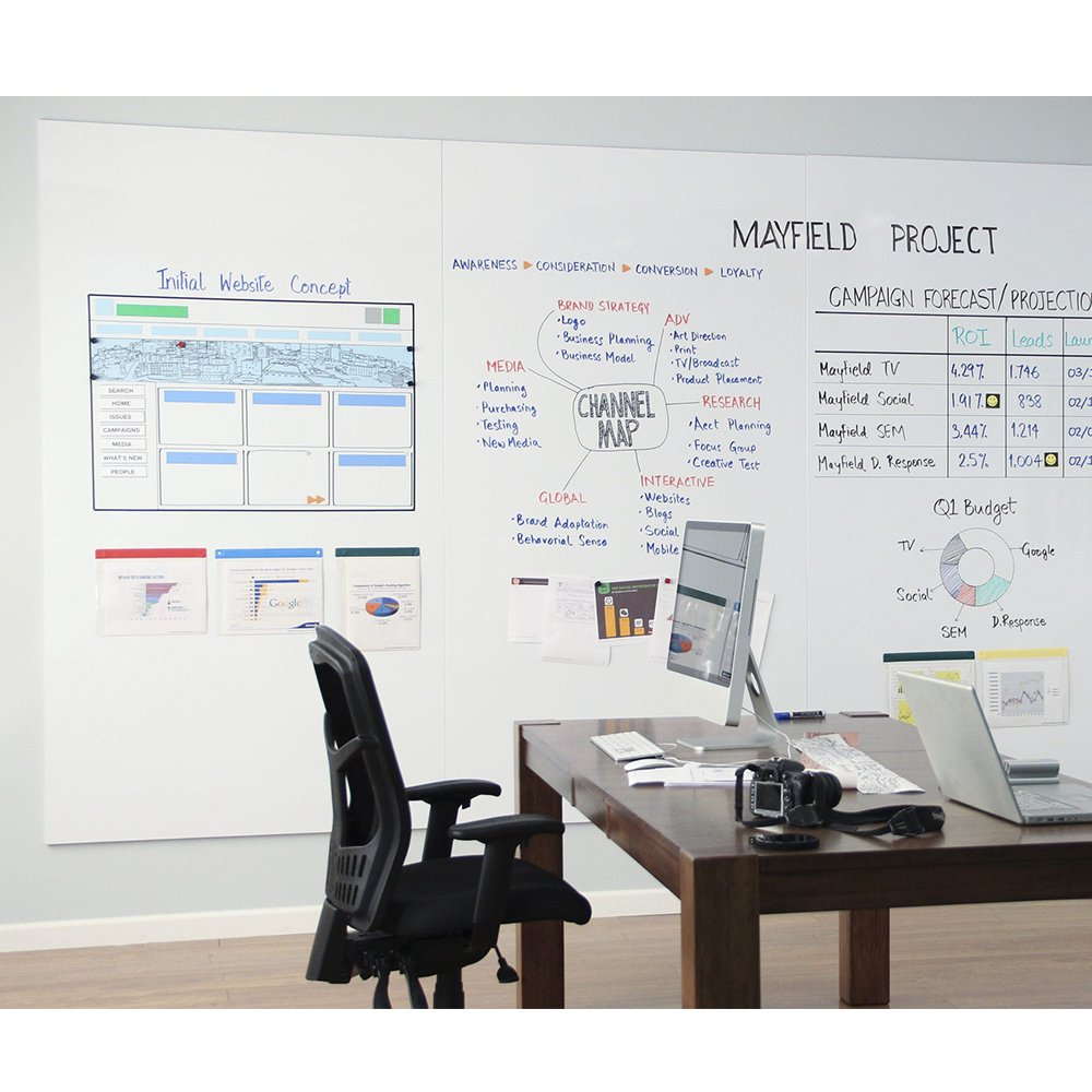 Magjoy Large Dry Erase Board Porcelain WhiteBoard Sticker for Wall with Maker Pen Accessory for Office/Home/Classroom -White, 47 X 70 Inch