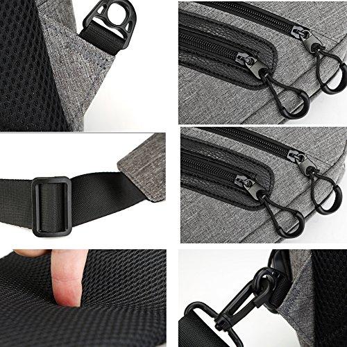 Uniqstore Canvas Unisex Brusttasche Schulter Crossbody Tasche Daypack Rucksack Tasche mit USB Ladeanschluss Grau Schwarz CICvaHmc