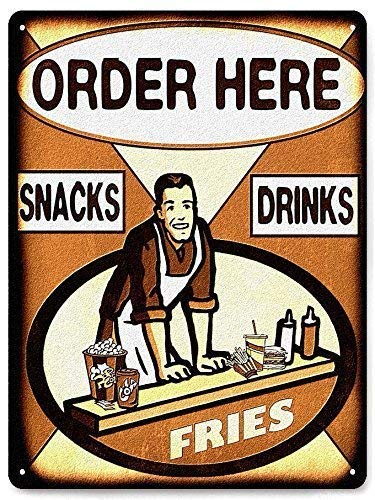 Unoopler Hamburger Fries Display Metal Sign Vintage Style for Snack Shack Deli Diner Wall Decor 8in x 12in.