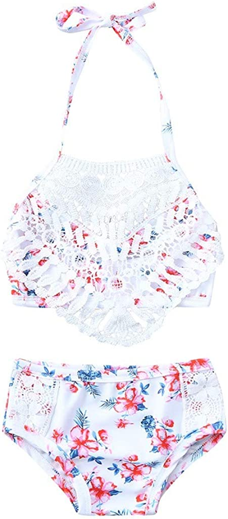 Newmao Toddler Girls Swimsuit Summer Halter Floral Lace Tassels Bikini Swimsuit+Shorts Sets