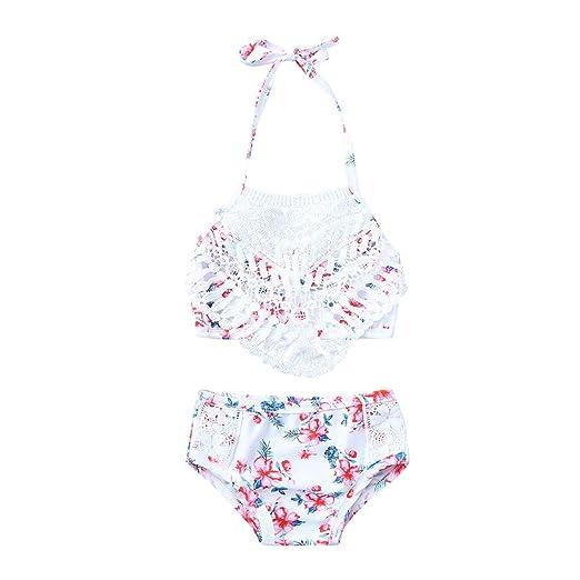 41b98e8b1d56 OTINICE Little Girls Two Piece Beach Swimsuit Tassel Flower Top+Shorts Bikini  Swimwear Set White