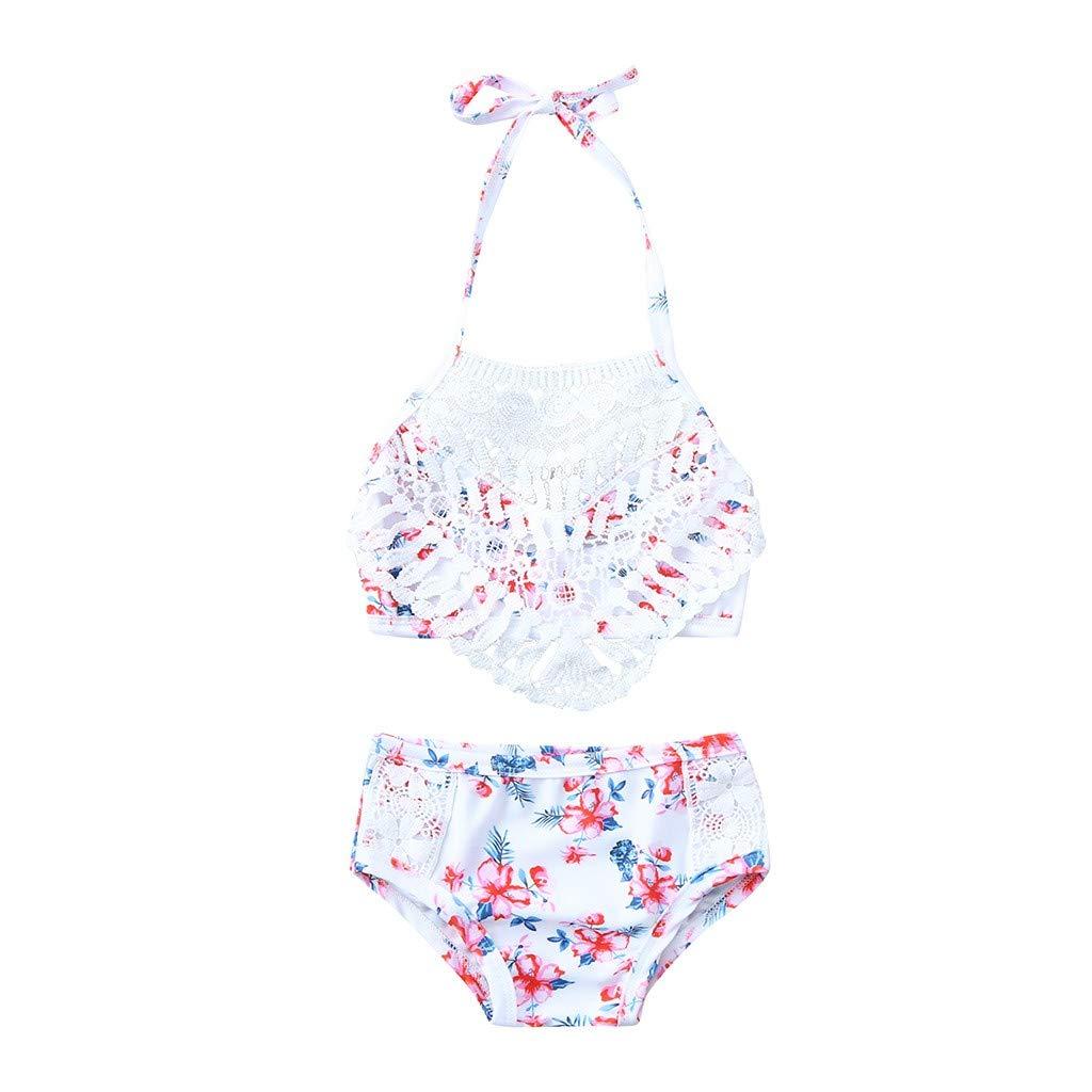 Nevera Girls' Summer Beach Sport Fringe 2-Piece Floral Print Bikini Swimsuit Swimwear Set White