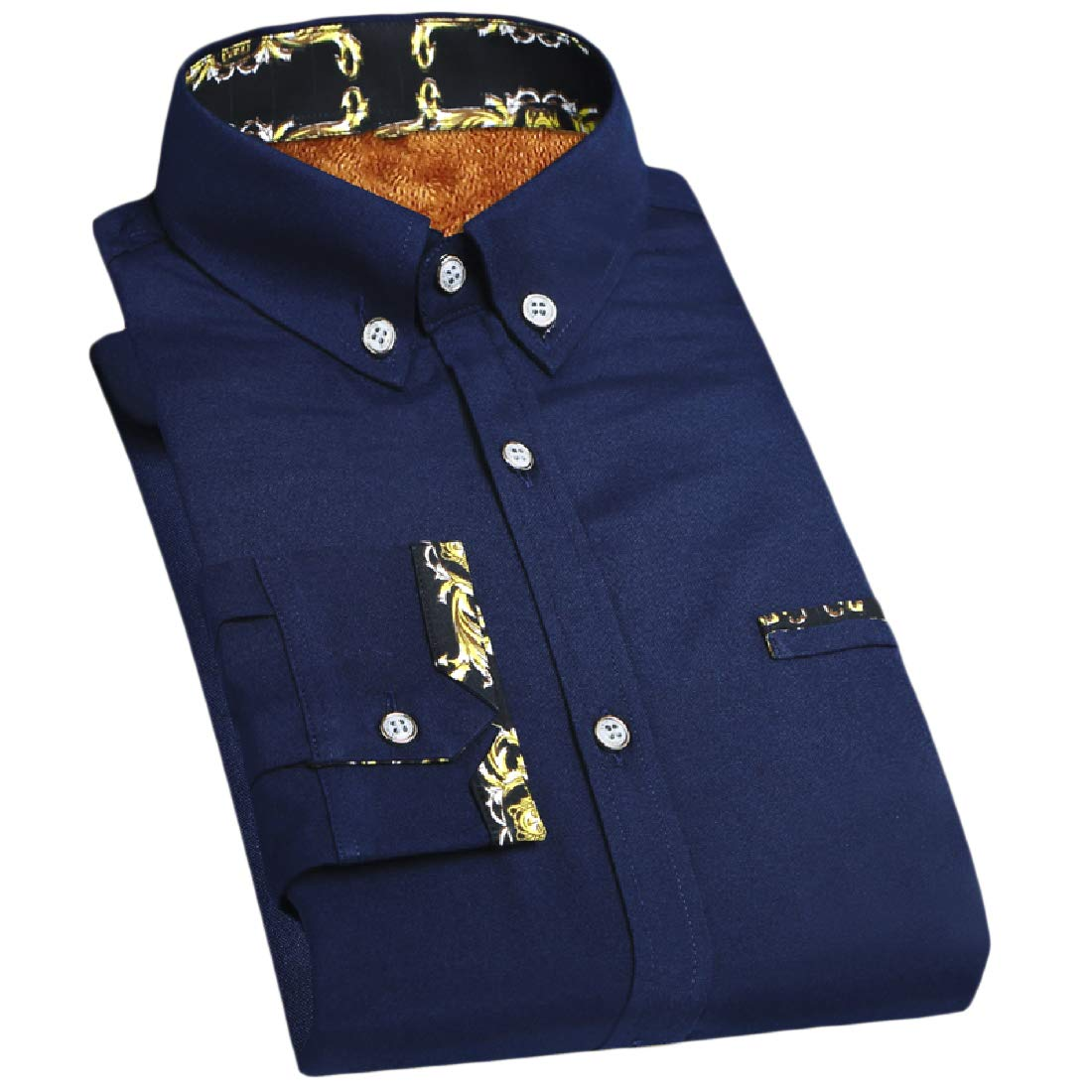YUNY Mens Thicken Button Business Plus Size Fit Fleece Long-Sleeve Shirts Dark Blue S