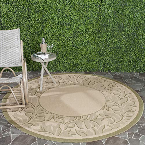 Safavieh Courtyard Collection CY2666-1E01 Natural and Olive Indoor/ Outdoor Round Area Rug (6'7