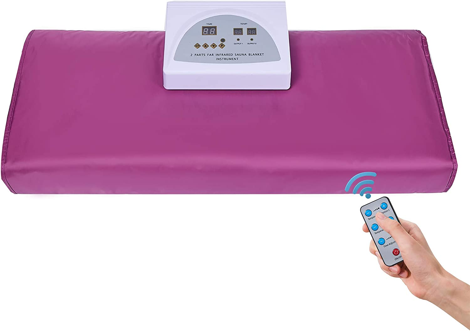 Jolisely Infrared Personal Sauna Blanket, Fast Sweating Professional Fitness Machine at Home for Weight Loss and Detoxification(with Button Battery/110V US Plug)(Purple)