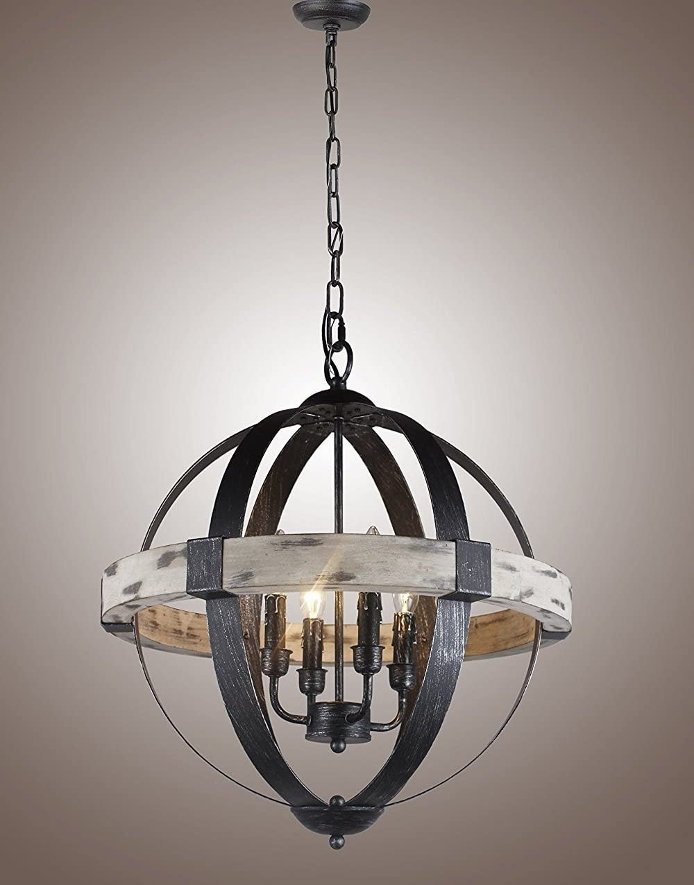 20 Wood Castello Black Aspen Wrought Iron Globe 4 Light Pendant Light Fixture Chandelier