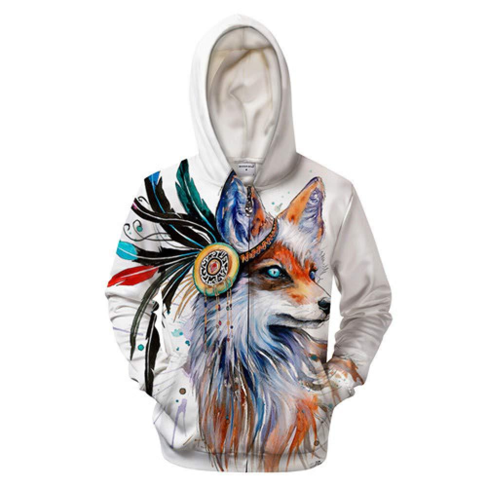 WDDGPZWY Hoodie Kapuzenpullover Sweatshirt Fox 3D Zipper Hoodies Männer Sweatshirts Reißverschluss Hoodie Pullover Casual Tier Hoodies Trainingsanzüge