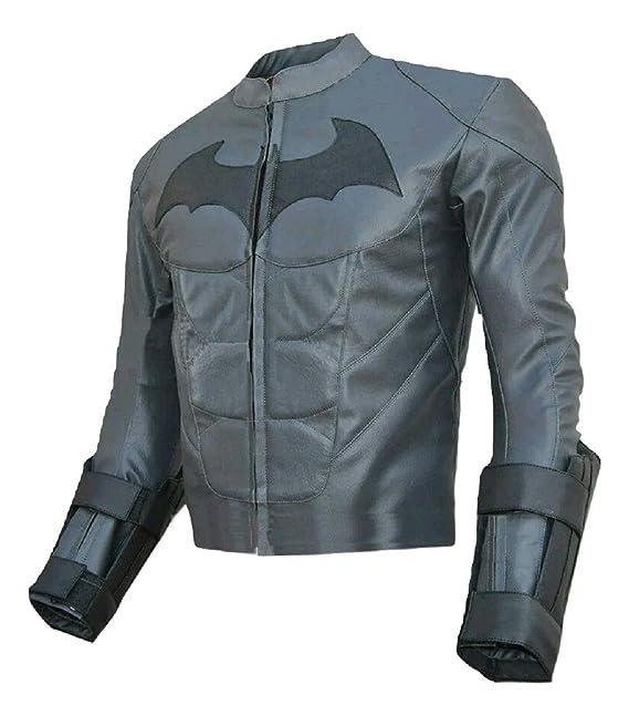 Moda Hombre de Batman Dark Knight de piel Real chaqueta gris Gris Cow Leather Grey X