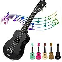 Lujex Best Soprano Ukulele Instrument Great Fun for Adult Beginners and Children Love Ukuleles (Black)