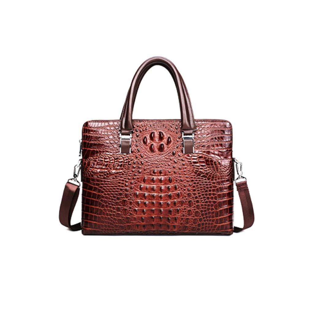 Color : Khaki MLMHLMR Leather Crocodile Briefcase Mens Handbag Top Layer Leather Shoulder Business Bag 38x8x29cm Briefcase