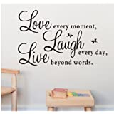 Fulltime(TM) Vinyl Decal Laugh Every Day Wall Sticker Quotes Inspirational Decal Art Stickers Wall Art For Kids Living Room Bedroom Bathroom Office Home Decoration
