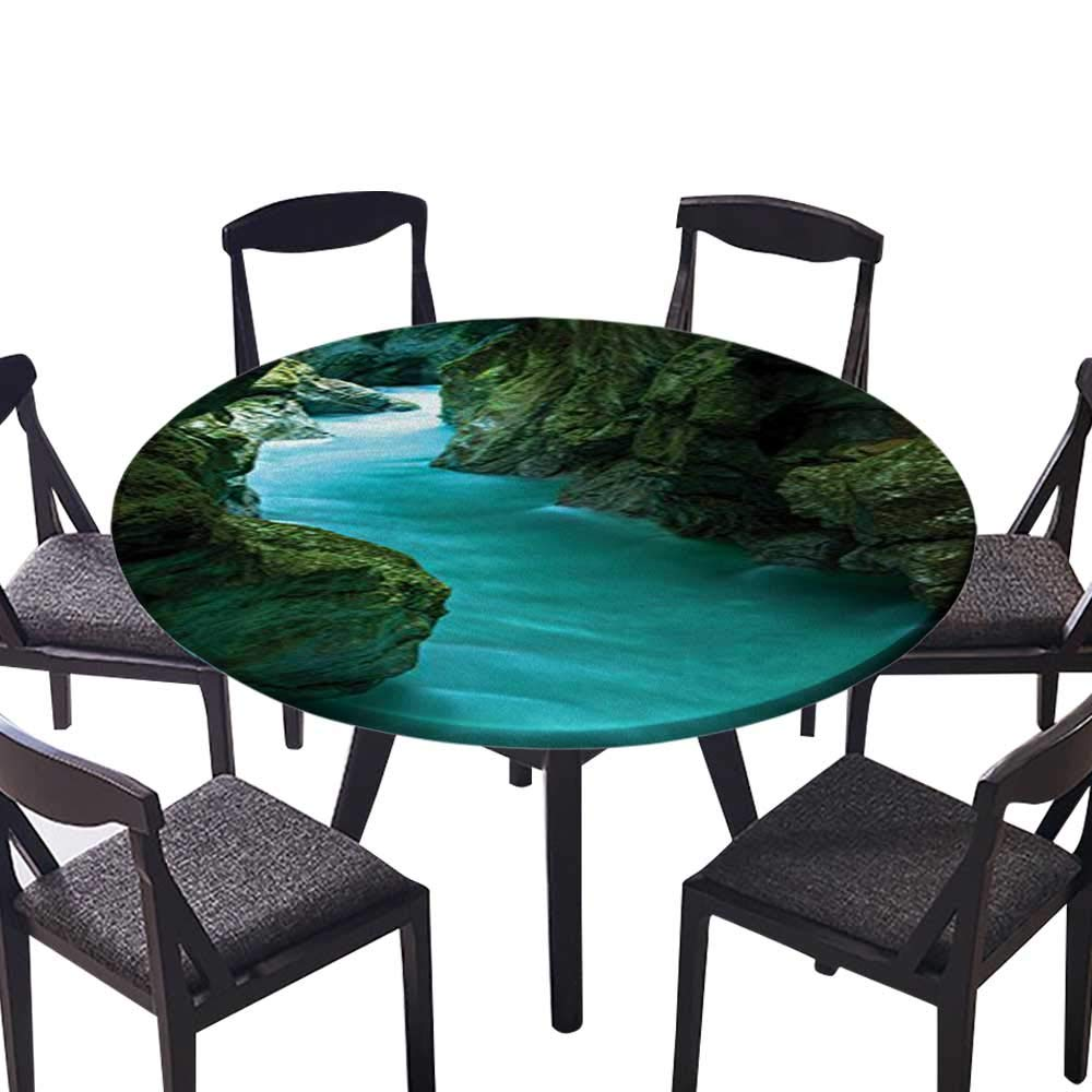 """Luxury Round Table Cloth for Home use Tolminka Alpine River Water Caves Nature Picture Accessories for Buffet Table, Holiday Dinner 63""""-67"""" Round (Elastic Edge)"""