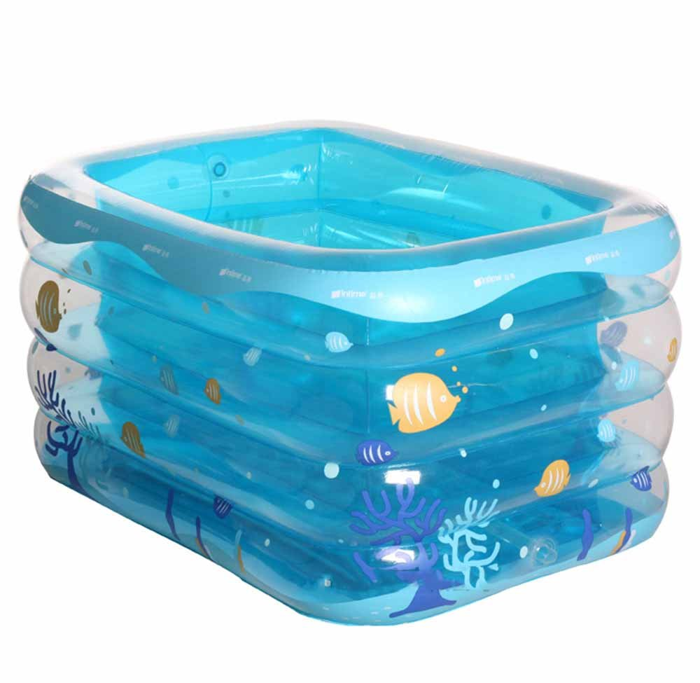 Practical portable child adult inflatable bathtub Infants and young children inflatable swimming pool thicker long side plus baby puzzle pool Folding Plastic bathtub QLM-Inflatable Bathtub and Inflatable plunge bath ( Color : Blue , Size : 120cm )