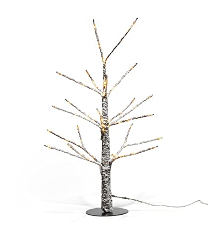 lamplust mini lighted christmas tree 18 inch size prelit snow covered branches 60 warm - Mini Pre Lit Christmas Tree