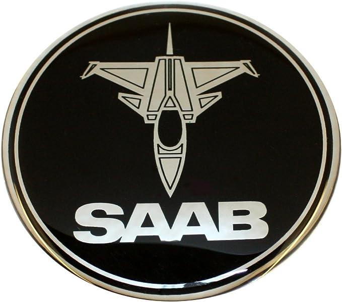 50 Mm Jet Flugzeug Saab Schwarz Chrom Motorhaubenabzeichen Emblem Gewölbt 3d Aufkleber Selbstklebende Rückseite 9 3 Auto