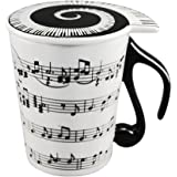 HLJgift Creative Ceramic Musician Coffee Mug Tea Cup with Lid Staves Music Notes as Valentine's Day Gift Teacher Gift