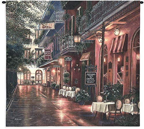 - Carmen Leggio New Orleans by Betsy Brown | Woven Tapestry Wall Art Hanging | New Orleans Evening Street Music and Cafe | 100% Cotton USA Size 54x53