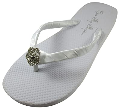 721c4b8ab588 Bridal Flip Flops Wedding Ivory Wedge White Platform Bride Rose Heel