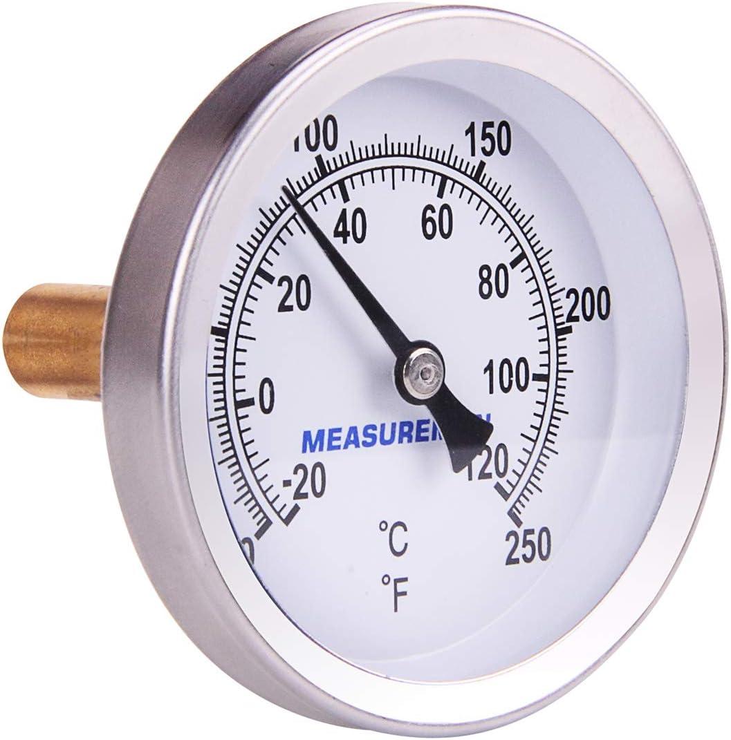 "MEASUREMAN Hot Water Bi-Metal Thermometer, 2-1/2"" Dial, 1-3/4"" Lead Free Brass Stem, Range 0-250 deg F/-20-120 deg C, 2% Accuracy, Adjustable, 1/2"" NPT Back Mount"