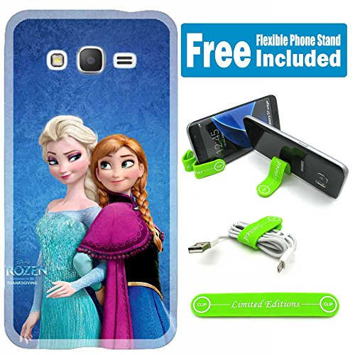 [Ashely Cases] For Samsung Galaxy [J3] [J3 2016] Cover Case Skin with Flexible Phone Stand - Disney Frozen Elsa Anna