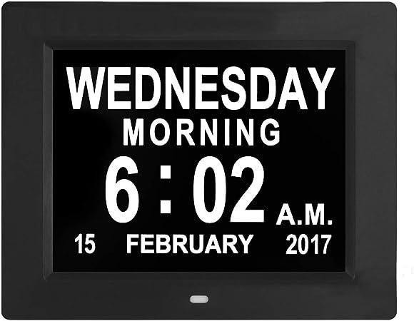 SOOTOP Extra Large Calendario con Sveglia Perdita di Memoria Giorno Digital Calendario Sveglia Non Abbreviata Day /& Mese Digital Clock Christmas Gifts per Anziani