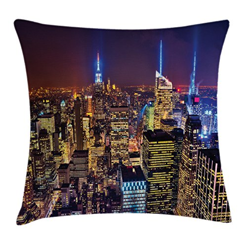 Ambesonne New York Throw Pillow Cushion Cover, Aerial Cityscape Landmark Fourth of July Independence Penthouse Modern Art Image, Decorative Square Accent Pillow Case, 18 X 18 Inches, Purple Gold (Penthouse Accent)
