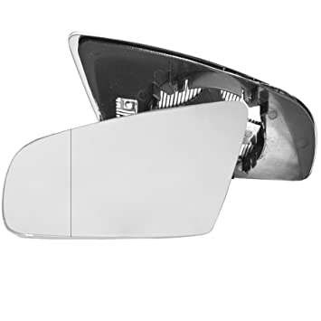Clip On Driver right hand side Heated wing door Silver mirror glass with backing plate #C-SHY//R-FDFS04