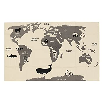 Jeteven world map baby kids tapestry wall hanging play rug portable jeteven world map baby kids tapestry wall hanging play rug portable crawling blanket 140x90cm gumiabroncs Gallery