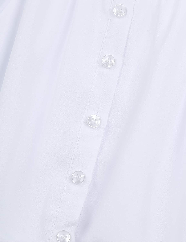 Inlzdz Camisa Blanca Para Niñas Blusa De Gasa Manga Larga 3 4 De Campana Blusa Abierta Otoño Con Cierre De Botones Elegante Camiseta Fiesta 5 16 Años Niña Camisetas Tops Y Blusas