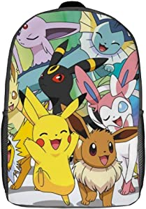 Kids Basic School Backpack 17 inches Poke-mon Eevee Maxi Poster Travel Laptop Backpack Casual Daypack for Boy Girl Men Women