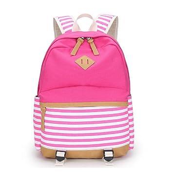 Para niñas y niños lona mochila escolar adolescente hombro tela de algodón para exterior Actividad Beige RST: Amazon.es: Equipaje
